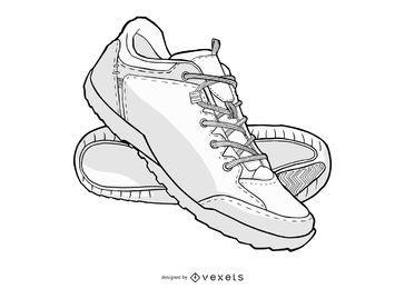 Ilustração de sapatos de desporto