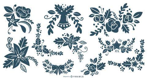 Colección de silueta de adornos florales de Navidad