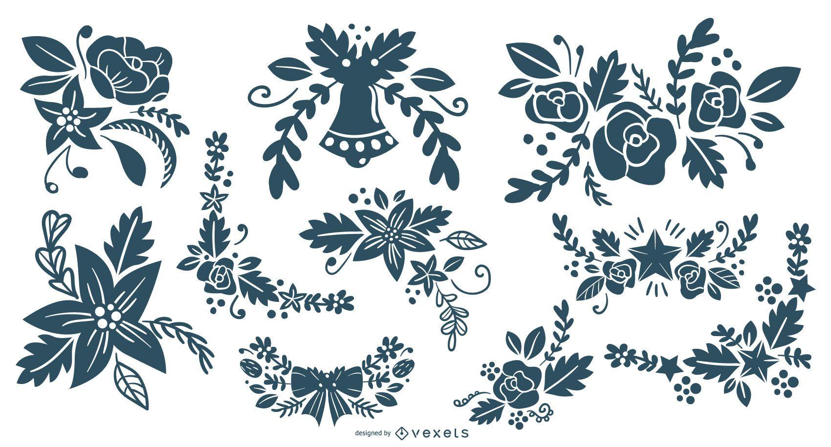 Colección de silueta de adornos florales navideños