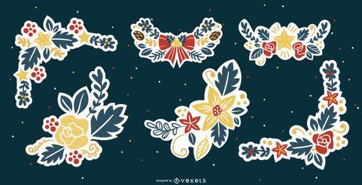 Coleção de enfeites de flores de natal coloridas