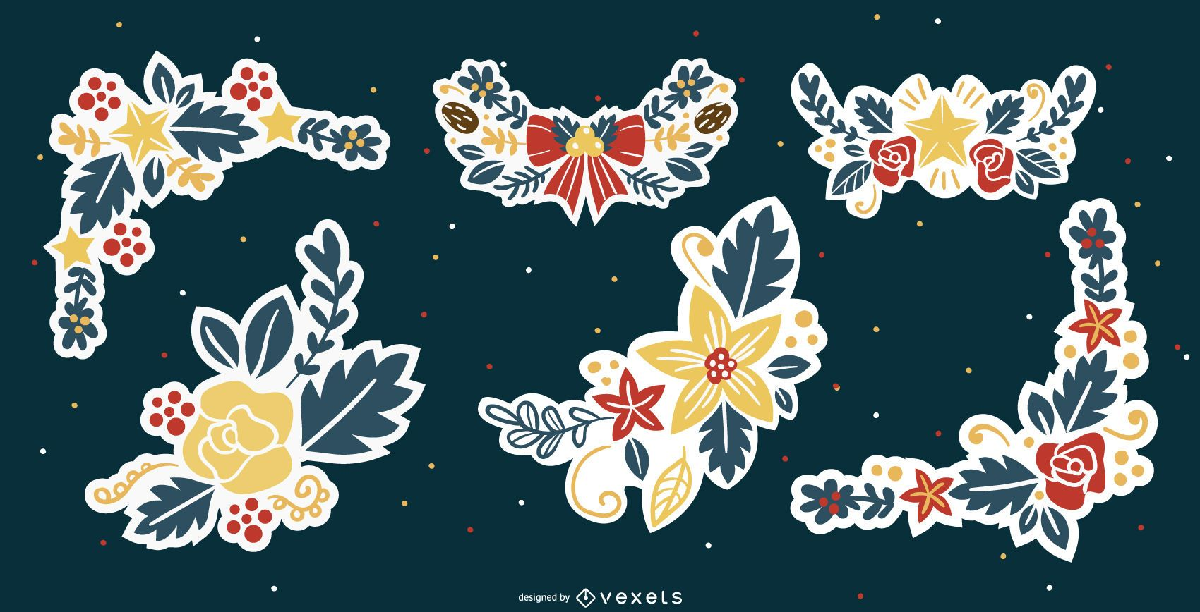 Colored Christmas Flower Ornament Collection