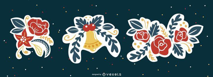 Conjunto de enfeites florais de natal