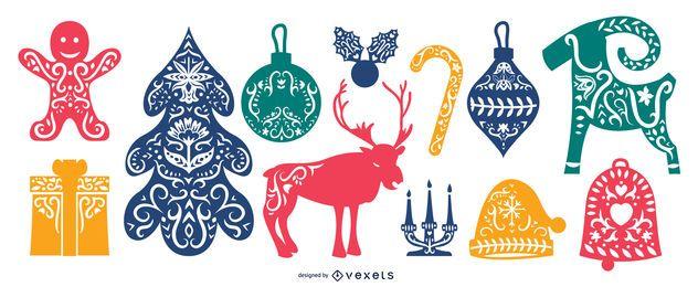Paquete de elementos navideños folclóricos escandinavos