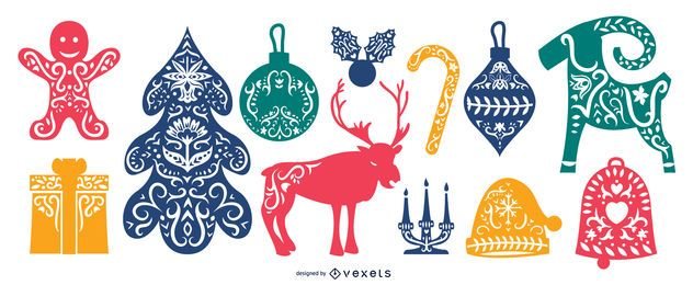 Scandinavian Folk Christmas Element Pack