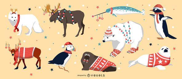 Paquete de vectores de animales navideños