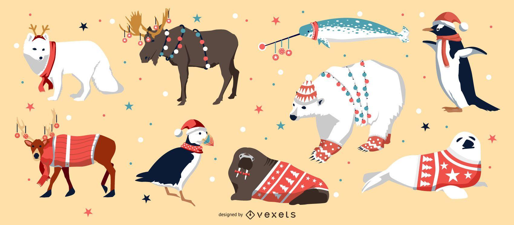 Pacote de vetores de animais de Natal