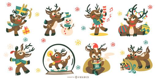 Christmas Cute Deer Vector Collection