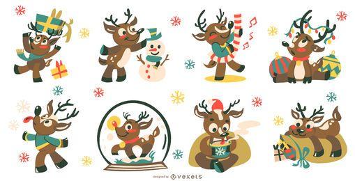 Coleção de vetores de veado fofo de Natal