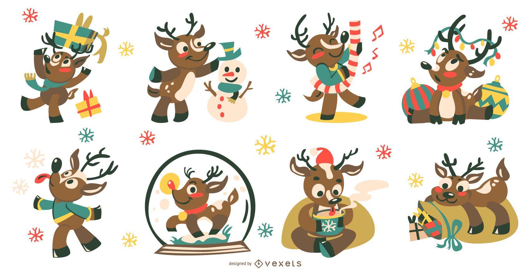 Colección de vectores de ciervos lindos de Navidad