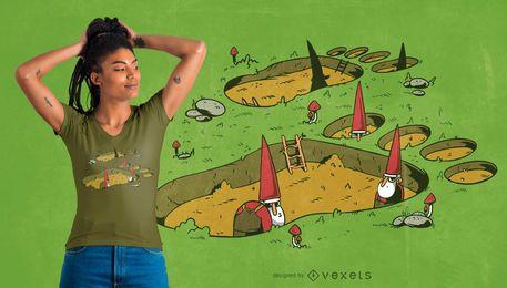 Design de t-shirt gigante pegada gnomo