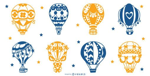 Air balloons silhouette set