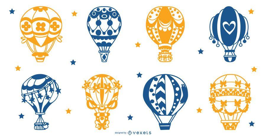 Conjunto de silhueta de balões de ar