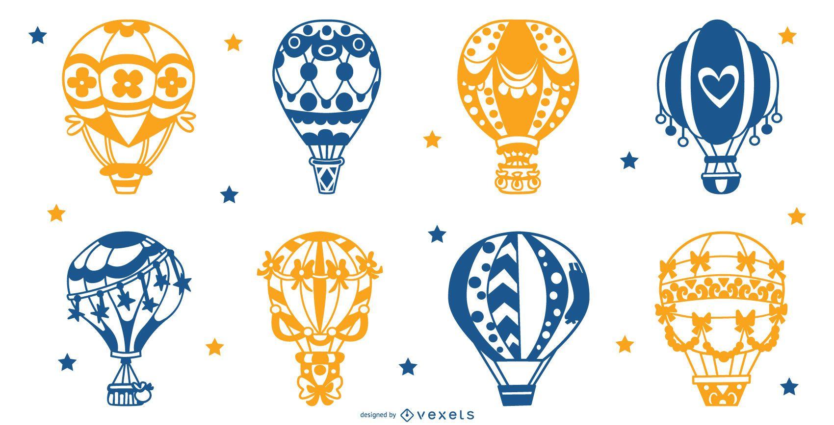 Air balloons silhouette set