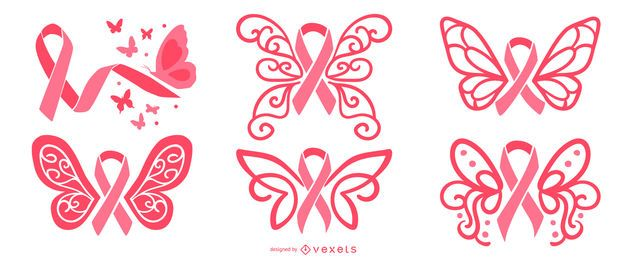 Breast cancer butterfly ribbons set