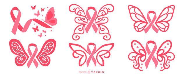 Conjunto de fitas de borboleta de câncer de mama