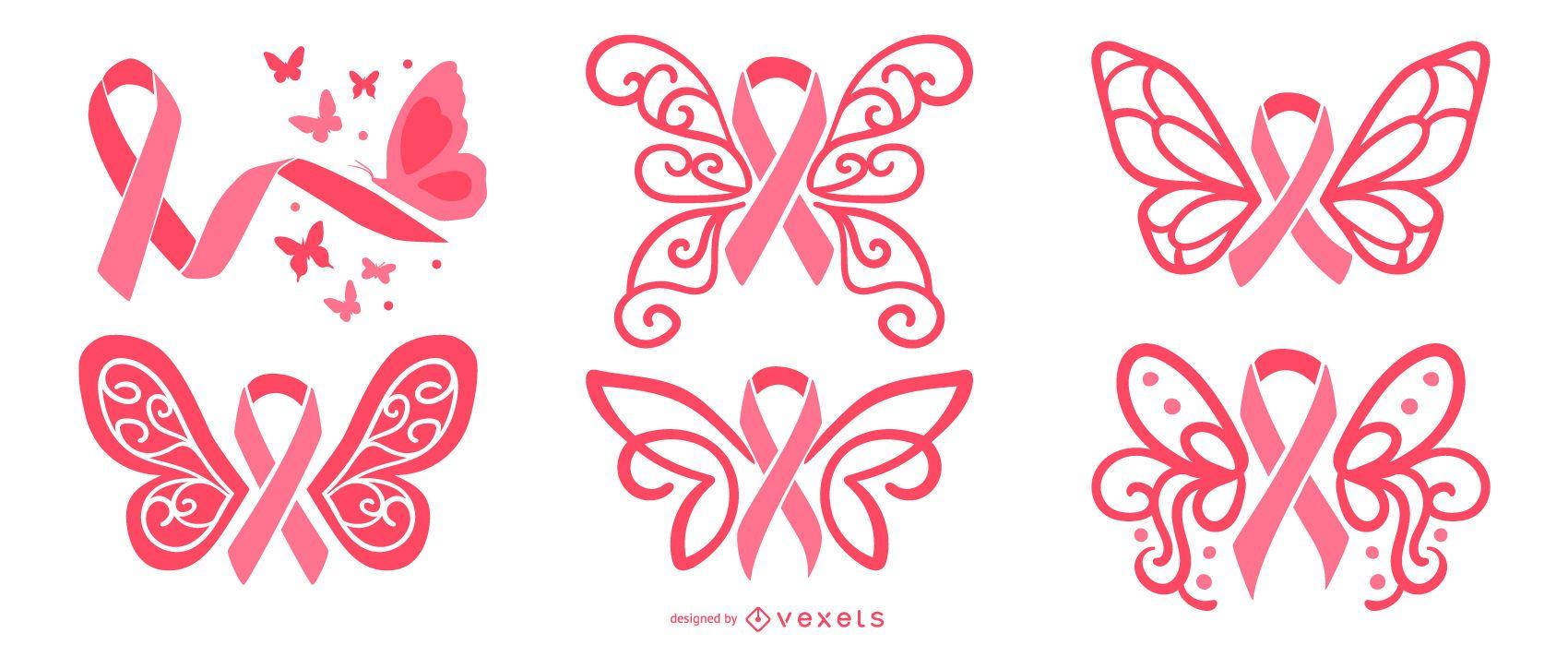 Conjunto de cintas de mariposa de cáncer de mama