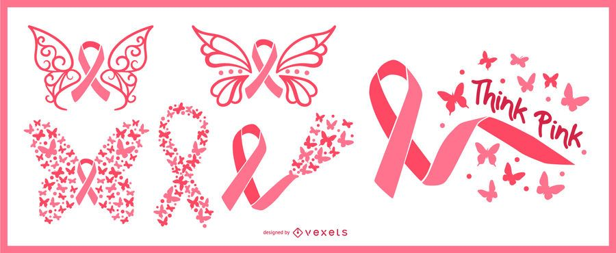 Breast cancer awareness butterfly ribbons