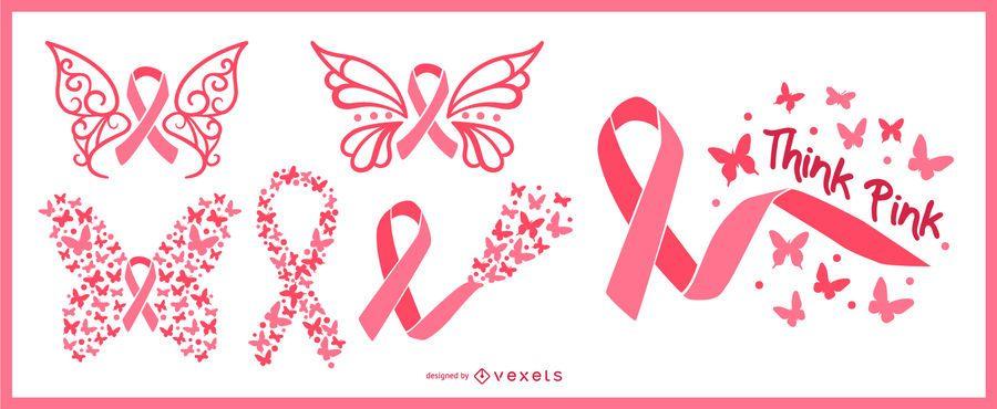 Fitas de borboleta de conscientização de câncer de mama