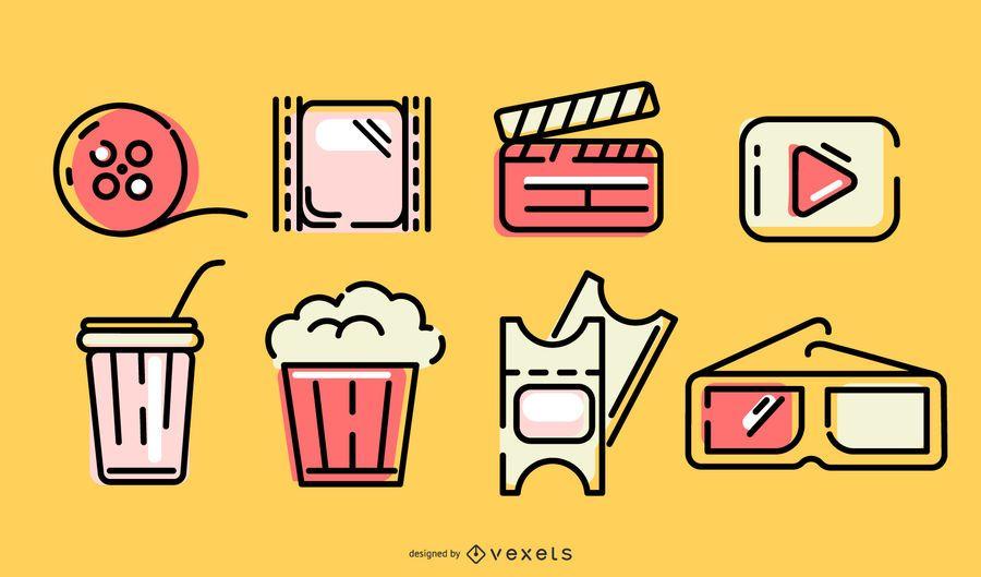 Conjunto de elementos de trazo de cine