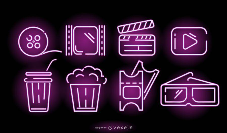 Conjunto de elementos de cine neón