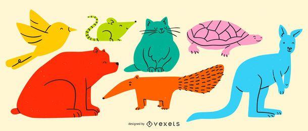 Conjunto de animais coloridos simples