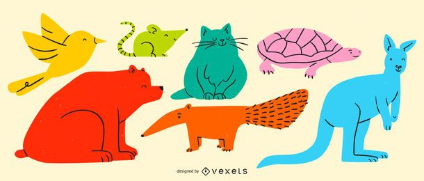 Simple colorful animals set