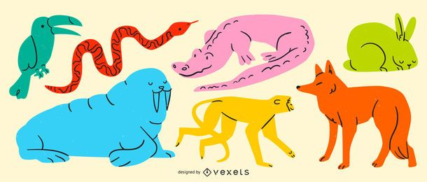 Conjunto de vectores de animales de color