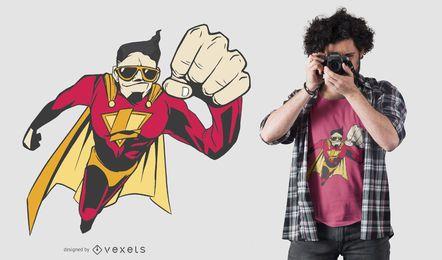 Superheld-Fliegen-T-Shirt Entwurf