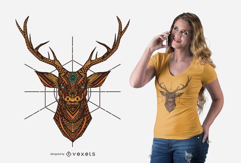 Design de t-shirt de veado de mandala