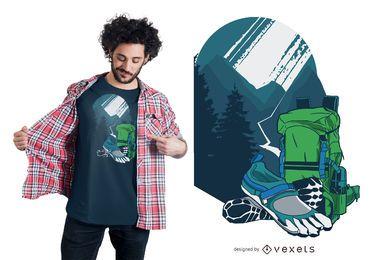 Diseño de camiseta de paisaje de senderismo