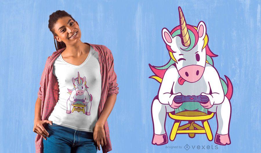 Design de t-shirt de jogador de unicórnio