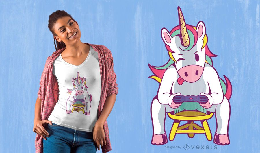Unicorn Gamer T-shirt Design