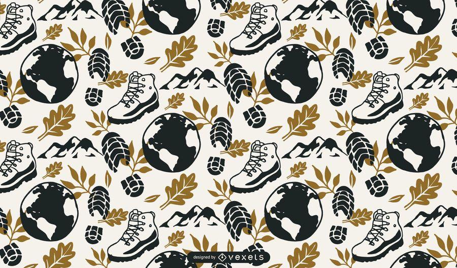 Hiking Pattern Background Design