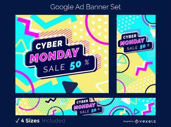 Conjunto de banners de anuncios de Google Cyber Monday