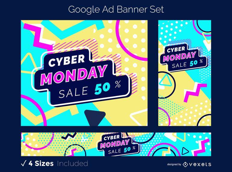 Conjunto de banners do Cyber Moday Google Ad