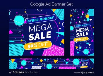 Cyber Monday Sale Google Ad Banner Set