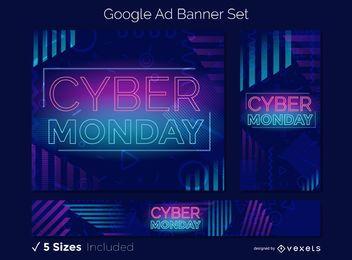 Conjunto de banners publicitarios del lunes cibernético