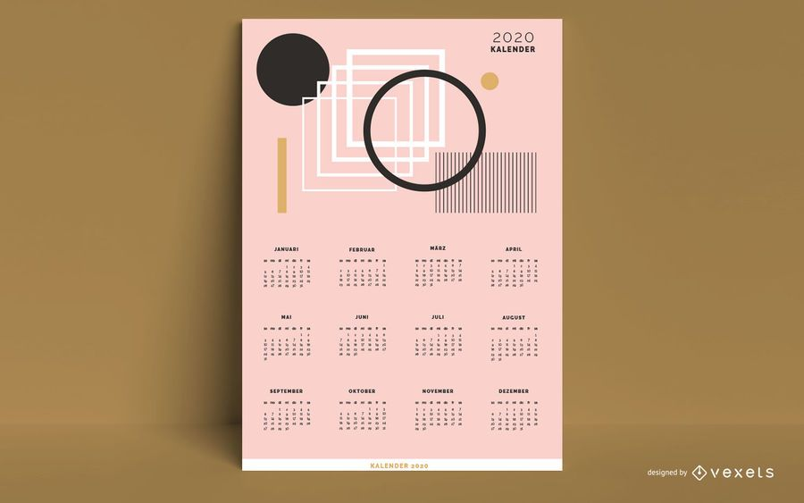 Desenho abstrato de calendário alemão