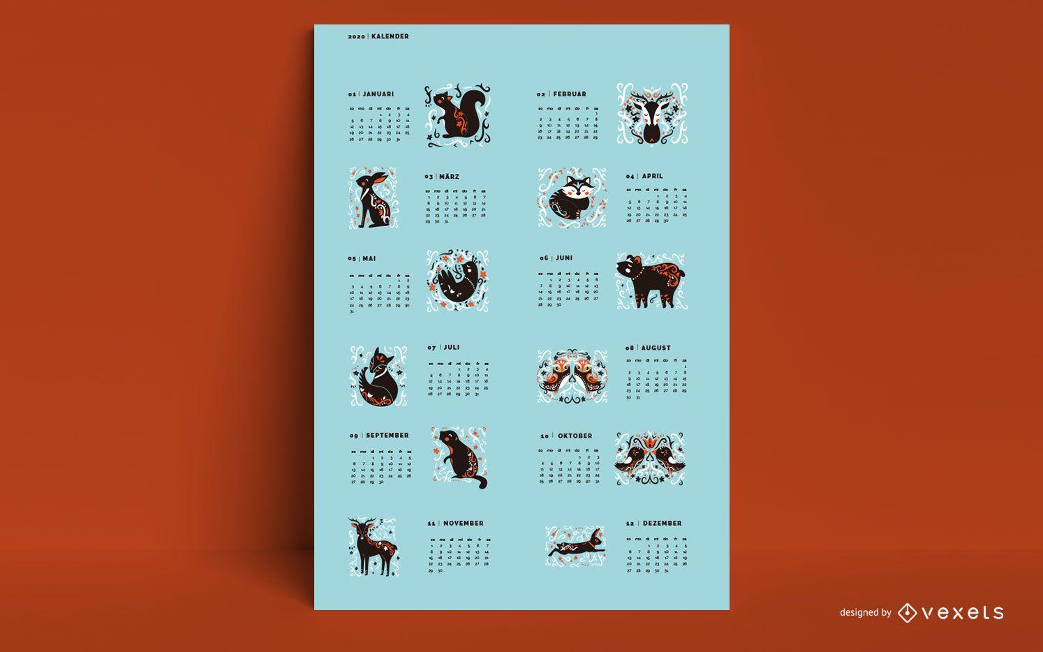 Diseño de animales de calendario alemán