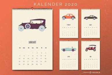 Carros antigos do calendário alemão