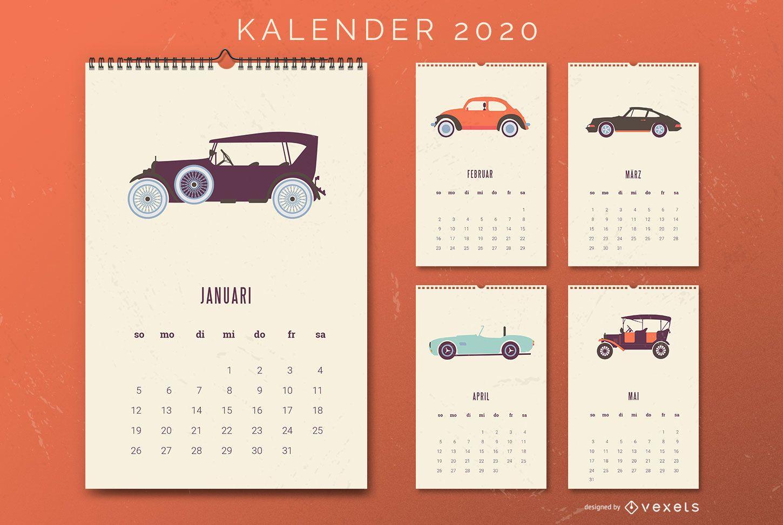 German calendar vintage cars