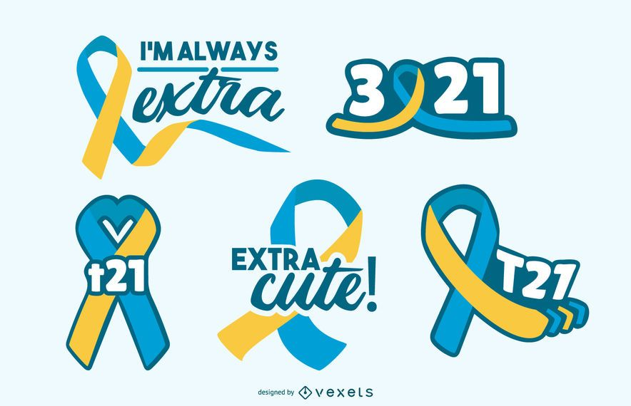 Down syndrome awareness ribbons