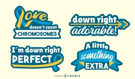 Conjunto de letras de consciência de síndrome de Down