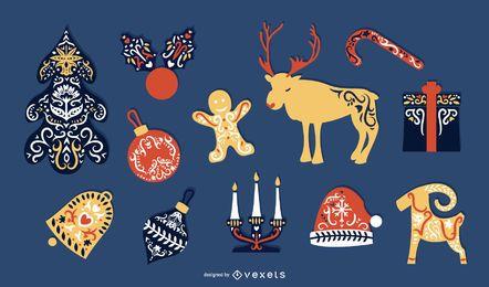 Skandinavische Weihnachten flache Elemente