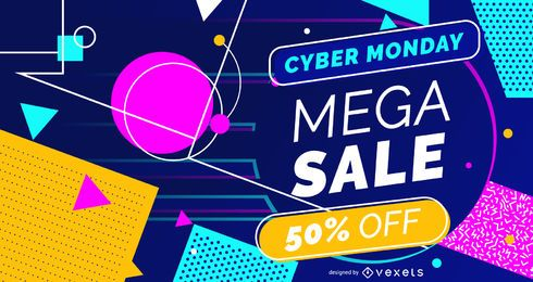 Colorful cyber monday web slider