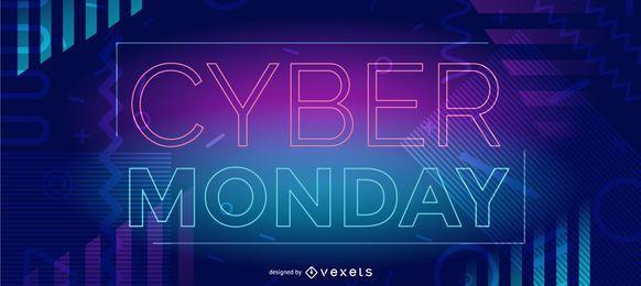 Cyber segunda-feira neon web slider