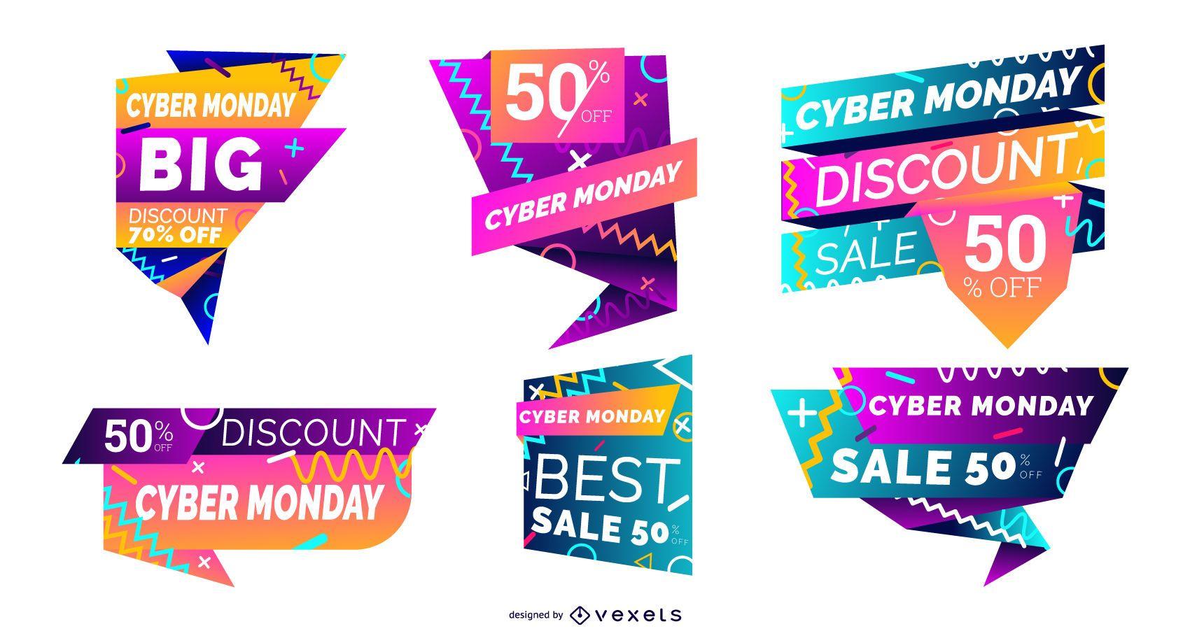 Conjunto de etiquetas coloridas de Cyber Monday