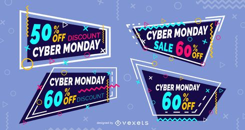 Cyber segunda-feira, memphis, etiquetas, jogo