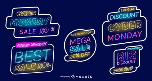 Cyber monday neon labels set