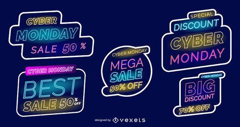 Cyber Montag Neon-Etiketten festgelegt